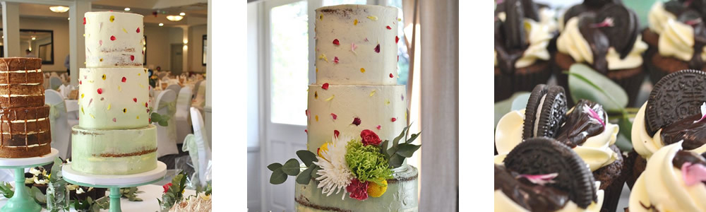 Edible flowers used on wedding cakes by Belmont House Cakery