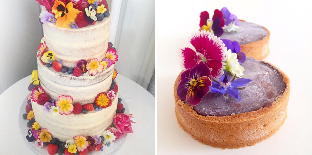 Cakes by Claire Elizabeth using our edible flowers