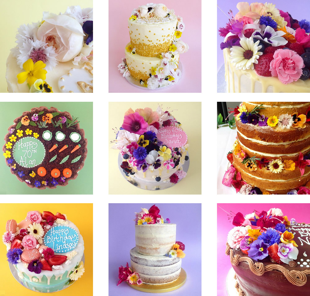 Cakes with our edible flowers by Claire Elizabeth
