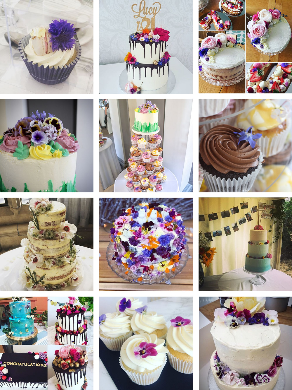 Client edible flower cake photos