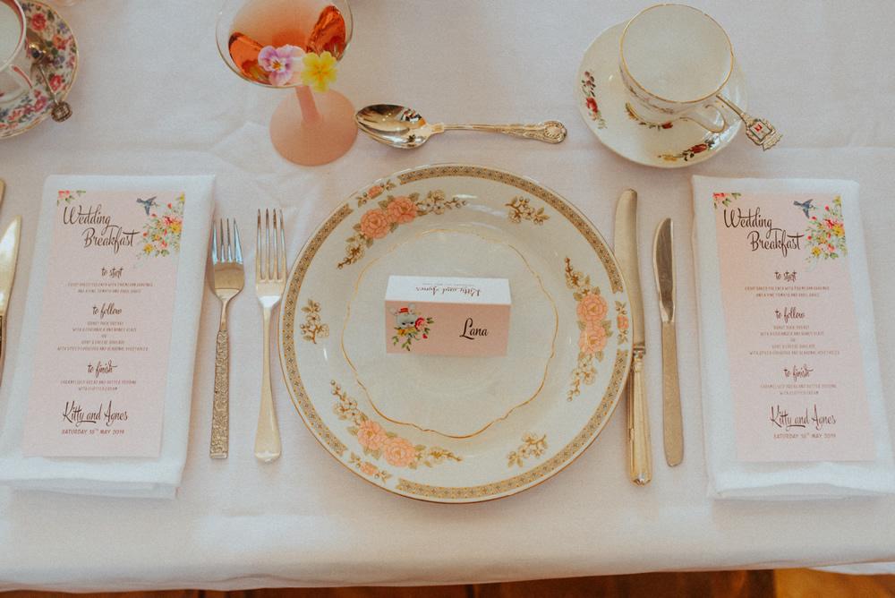 Edible flowers at wedding breakfast