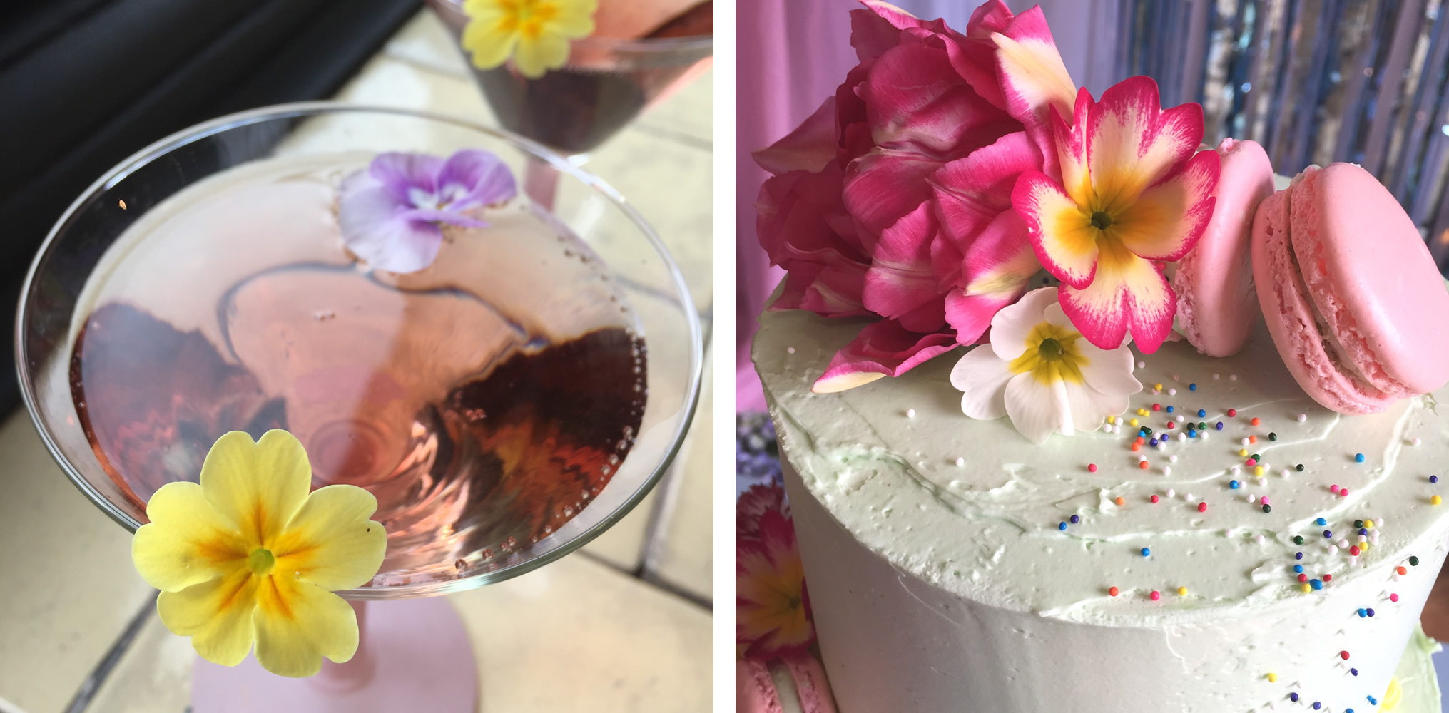 Primrose with cocktail and cake with primroses
