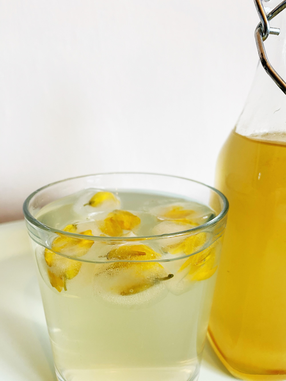 Gorse flower cordial with gorse floral ice